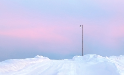 Winter sunset in pastel shades (Russia)